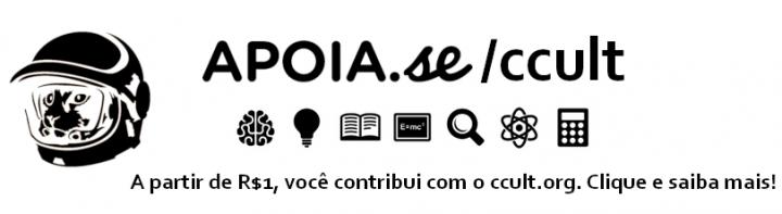 Imagem com o logotipo do ccult.org convidando os usuários a apoiar o financiamento coletivo do site no apoia.se/ccult